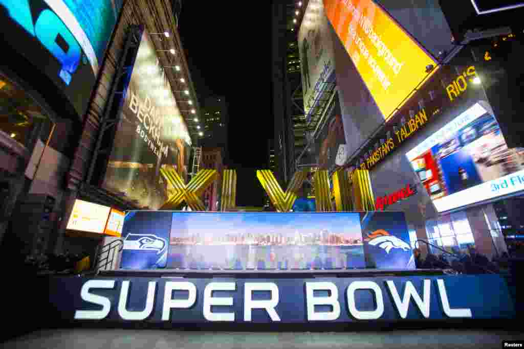 The numerals for the the game are seen at an opening ceremony for 'Super Bowl Boulevard' along Broadway as preparations continue for Super Bowl XLVIII in New York, Jan. 29, 2014.