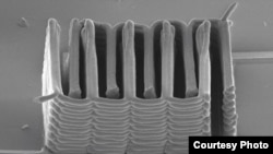A research team from Harvard University and the University of Illinois at Urbana-Champaign has demonstrated the ability to 3D print a battery. (SEM image courtesy of Jennifer A. Lewis.)