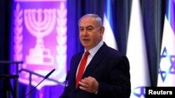 以色列总理内塔尼亚胡在耶路撒冷一个国际会议上发表讲话。(2017年12月7日)
