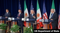 U.S. Secretary of State Rex Tillerson at a press conference with U.S. Secretary of Homeland Security John F. Kelly and Foreign Secretary Luis Videgaray Caso and Secretary of Government Miguel Angel Osorio Chong.