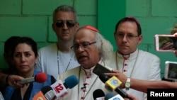 L'archevêque de Managua, le cardinal Leopoldo Brenes, conférence de presse, Managua, Nicaragua, le 14 juillet 2018.