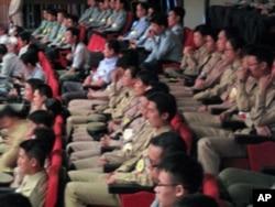 台湾军方人员出席纪念大会