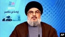 Người cầm đầu tổ chức Hezbollah Hassan Nasrallah phát biểu trên truyền hình hôm 25/5/2013