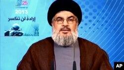25일 레바논의 무장정파인 헤즈볼라의 지도자 하산 나스랄라가 TV연설을 하고 있는 사진을 시리아 관영 사나통신이 보도했다.