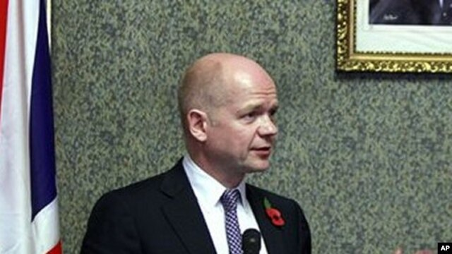 British Foreign Secretary William Hague, looks on during a presser (File Photo)