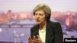 "Britain's Prime Minister Theresa May speaks on the BBC's ""The Andrew Marr Show"" in London, Jan. 22, 2017. In response to a British lawmaker, May said of her country, ""We do not sanction torture, we do not get involved with that, and that will continue to be our position."""