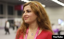 FILE - Iranian chess player Dorsa Derakhshani speaks in an interview.