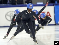 Maame Biney competes in the 500-meter U.S. Olympic short track speedskating trials, Dec. 16, 2017, in Kearns, Utah.