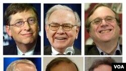 Para bilyuner AS, antara lain, atas dari kiri: Bill Gates, Warren Buffett, dan Paul Allen. Gambar bawah, dari kiri: Robson Walton, Carlos Slim Helu, dan Lawrence Ellison.