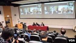 香港學聯以網上連線進行台港兩地《殖民香港》學術研討會。(美國之音湯惠芸拍攝)