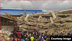 This hostel in Lagos, Nigeria, belonging to Prophet Temitope Balogun Joshua collapsed last week, killing many people. (Courtesy Image)