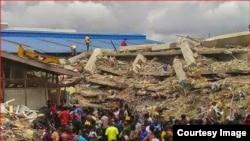 This hostel in Lagos, Nigeria, belonging to Prophet Temitope Balogun Joshua collapsed last week, killing many people. (Courtesy Image)