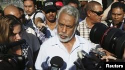 Perdana Menteri Timor Leste Xanana Gusmao berbicara pada reporter setelah pemilu. (Photo: Reuters)