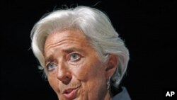 "International Monetary Fund Managing Director Christine Lagarde discusses ""Global Economic Challenges and Solutions"" in a speech in Washington, D.C., September 15, 2011."