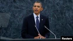 美國總統奧巴馬正在紐約召開的聯合國大會上發表講話。