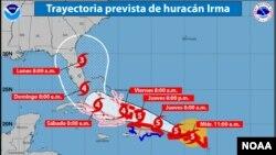 Trayectoria actualizada esperada para el huracán Irma.