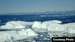 នេះជារូបភាពនៃផ្ទាំងទឹកកកនៅតំបន់ Greenland។