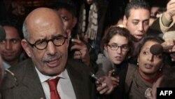 Bivši generalni direktor Medjunarodne agencije za atomsku energiju Mohamed Elbaradej razgovara sa novinarima na aerodromu u Kairu, 27. januara 2011.