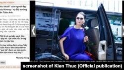 Người mẫu Thủy Hương, vợ Bộ trưởng Công thương Trần Tuấn Anh, cũng từng gây lúng túng cho chồng trong vụ đưa đón tận chân máy bay.