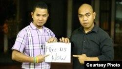 Anh Bùi Tuấn Lâm tức Facebooker Peter Lam Bui (trái), và Trần Hoài Bảo tức Facebooker Vô Thường (phải) chụp trước giờ ra sân bay về Việt Nam. (Ảnh: Danlambao)