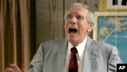 FILE - Rev. Fred Phelps Sr. preaches at his Westboro Baptist Church in Topeka, Kansas, March 19, 2006.