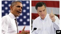 Ứng cử viên đảng Dân chủ Tổng thống Barack Obama (trái) và ứng cử viên đảng Cộng hòa Mitt Romney