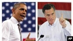 美国总统奥巴马和共和党总统候选人罗姆尼在竞选中