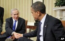 Mart oyida AQSh prezidenti Barak Obama (o'ngda) Isroil Bosh vaziri Benyamin Netanyaxuni Oq Uyda qabul qildi. 5-mart, 2012-yil.
