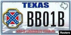 Дизајнот на регистарските таблички којшто го предложи Тексашкиот оддел на организацијата Синови на конфедеративните ветерани
