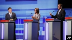 Pré-candidatos presidenciais, Mitt Romney, Michele Bachmann, y Tim Pawlenty, em Iowa