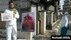 Aksi Peduli Rohingya oleh FPI dan sejumlah organisasi Islam di Klaten Jawa Tengah. (Foto: VOA/Nurhadi)