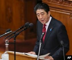 日本首相安倍晋三2014年1月发表政策讲话