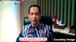 Wakil Ketua KPK, Nurul Ghufron dalam sebuah webinar (tangkapan layar: Petrus Riski/VOA).