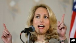 "FILE - Former CIA officer Valerie Plame Wilson speaks at an annual ""power lunch"" in Chicago."