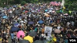 """资料照片:香港民众的一次""""反送中""""抗议集会。(2019年9月8日)"""