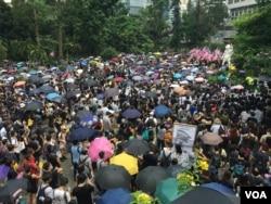 香港抗議者呼籲美國支持港人的民主訴求。(2019年9月8日)