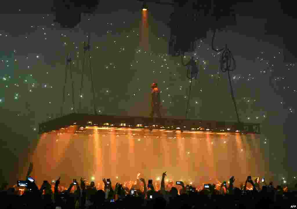 Rapper Kanye West performs at the Forum in Inglewood, California, Oct. 25, 2016.