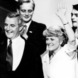 Democratic presidential nominee Walter Mondale and his running mate Geraldine Ferraro on July 19, 1984, at the end of the Democratic National Convention in San Francisco