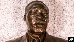 Undated photo supplied by the U.S. Embassy in Pretoria shows a bust of Martin Luther King Jr. on display at the embassy in Pretoria, South Africa.