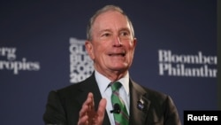 Tư liệu- Cựu Thị trưởng New York Michael Bloomberg phát biểu tại Diễn đàn Doanh thương Toàn cầu Bloomberg tại New York, ngày 26/9/2018.