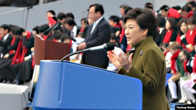 25일 취임사를 하는 박근혜 한국 대통령. (자료사진)