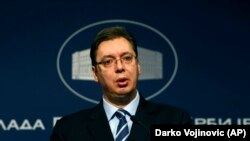 Premijer Srbije Aleksandar Vučić na konferenciji za novinare u zgradi Vlade Srbije (arhivski snimak)