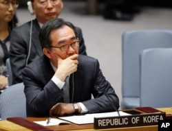 South Korea's U.N. Ambassador Cho Tae-yul listens to debate in the Security Council after a resolution vote on North Korea at U.N. headquarters in New York, June 2, 2017.