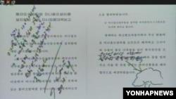 북한 김정은 1위원장이 능라인민유원지 관련 자료에 친필과 함께 남긴 그림. 조선중앙 TV 보도.