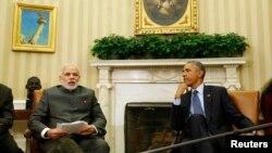 30일 바락 오바마 미국 대통령(오른쪽)과 나렌드라 모디 인도 총리가 백악관에서 회동했다.
