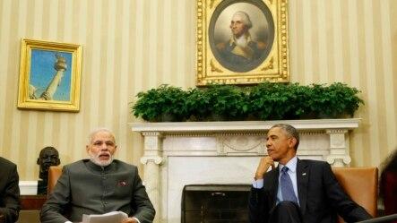 Tổng thống Hoa Kỳ Barack Obama (phải) hội đàm với Thủ tướng Ấn Độ Narendra Modi tại Tòa Bạch Ốc