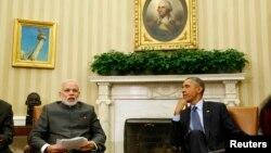 奧巴馬總統與印度新總理莫迪星期二在白宮舉行的雙邊會談。