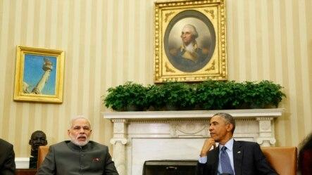 AQSh Prezidenti Barak Obama (o'ngda) Hindiston Bosh vaziri Narendra Modi bilan. 30-sentabr 2014-yil