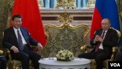 3月22日,俄羅斯總統普京在克里姆林宮會晤中國國家主席習近平