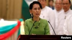La Birmane Aung San Suu Kyi, en Birmanie, le 6 septembre 2017.